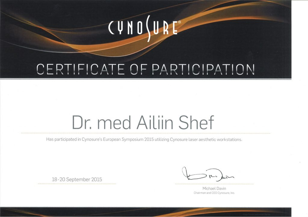 Certificate for attendance of Palomar Medical Technologies workshop belonging to doctor Ailyn Shef.