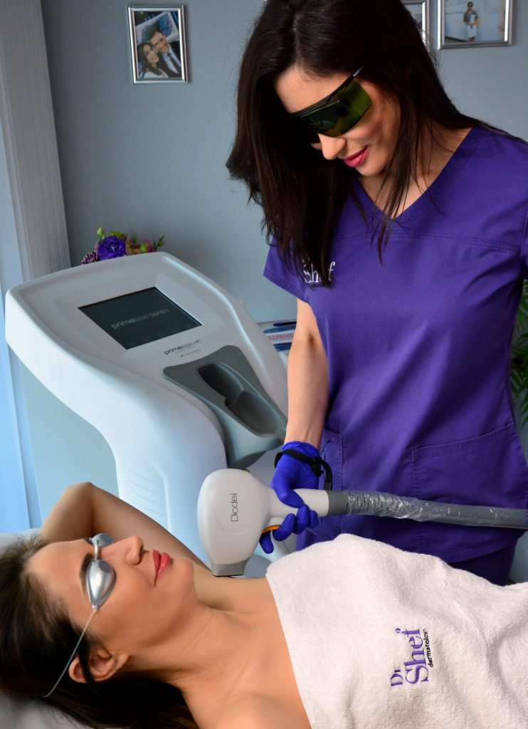 Image of a woman undergoing laser hair removal procedure